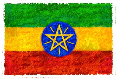 Drawing of the flag of Ethiopia Stock Photo - 14853193