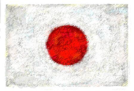 Tekening van de vlag van Japan