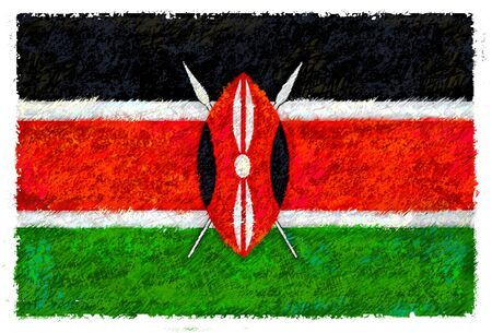 kenya: Drawing of the flag of Kenya