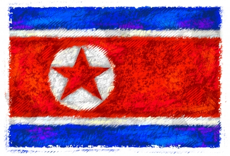 Drawing of the flag of North Korea photo