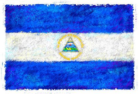 Dibujo de la bandera de Nicaragua Foto de archivo - 14853195