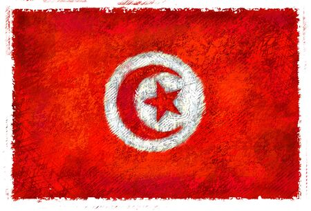Drawing of the flag of Tunisia photo