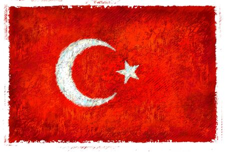 drawing: Drawing of the flag of Turkey Stock Photo