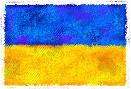 Drawing of the flag of Ukraine photo