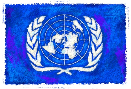 united nations: Drawing of the flag of United Nations