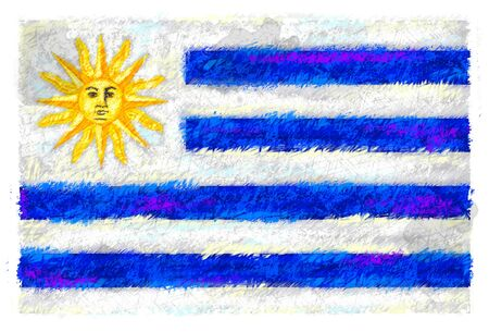 Drawing of the flag of Uruguay Stock Photo - 14853070