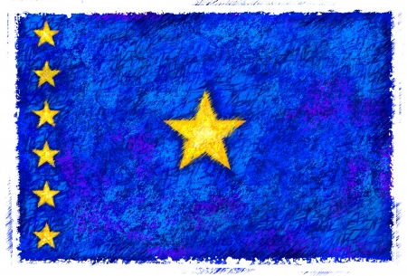 democratic: Drawing of the flag of Democratic Republic of the Congo Stock Photo