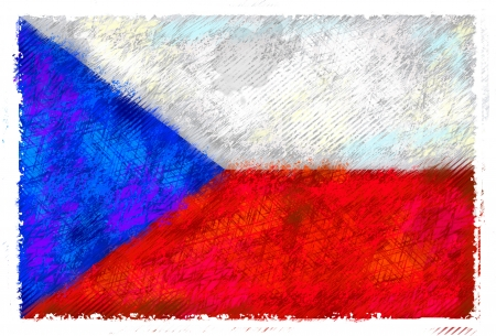 Drawing of the flag of Czech Republic photo