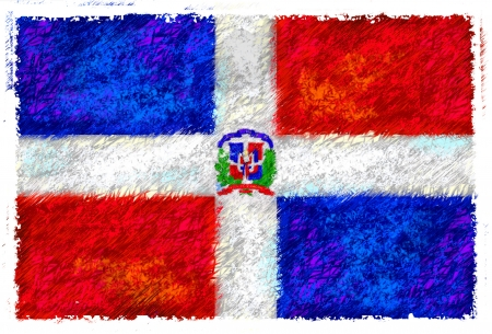 dominican republic: Drawing of the flag of Dominican Republic Stock Photo