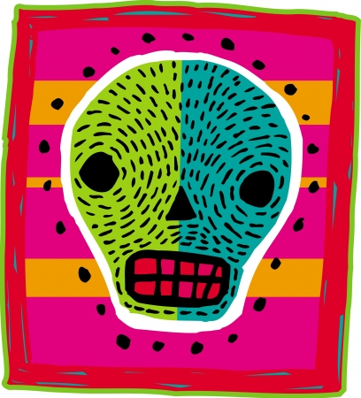 imagezoo: A green and blue skull on a bright background
