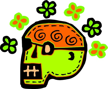 imagezoo: A green skull with flowers represented on a white background Stock Photo