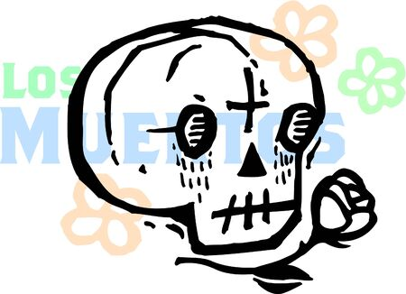 A Los Muertos skull drawn with a rose Stock Photo - 14853347