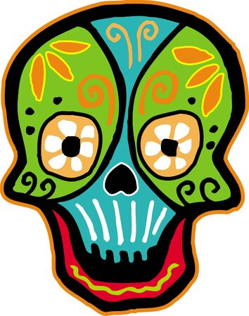 A colourful smiling skull on white background Stock Photo - 14853416