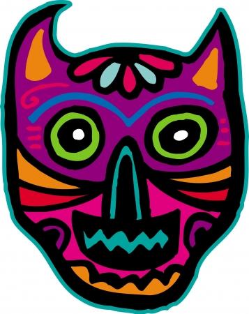 imagezoo: An illustration of a purple cat skull Stock Photo