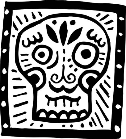 A black and white picture of a skull with black border Stock Photo - 14853408