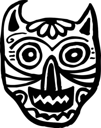 graphically: A black and white cat skull graphically represented