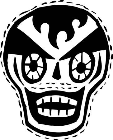 Black and white clown skull photo
