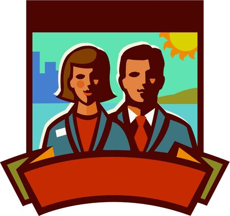 Illustration of a businessman and a businesswoman Stock Illustration - 14853343