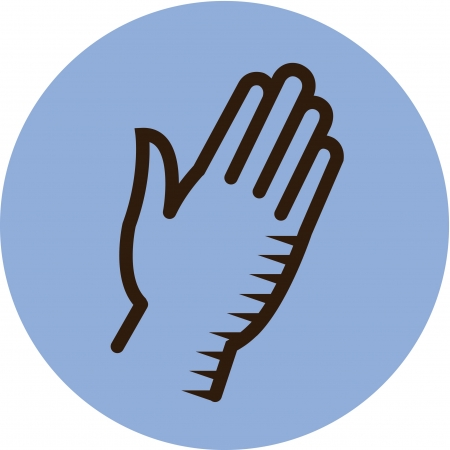 Illustration of a hand on a blue background