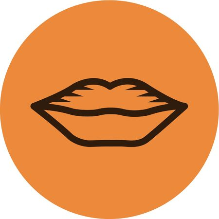 Illustration of lips on an orange background Stock Illustration - 14853336