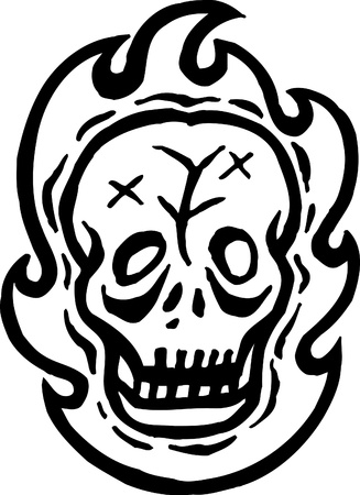 A black and white drawing of a skull and fire photo