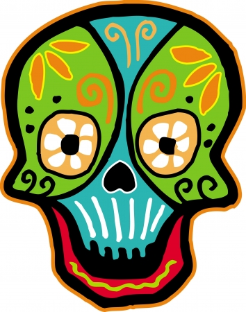 A colourful smiling skull on white background