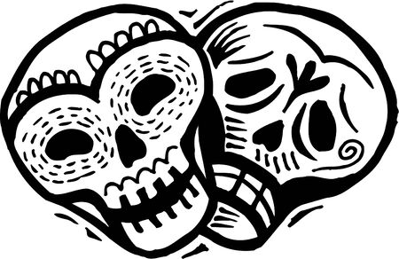 A black and white drawing of two skulls with happy and sad expressions photo