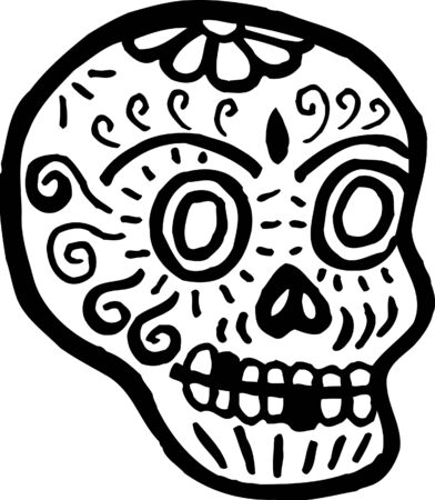 A skull with teeth missing represented in black and white photo