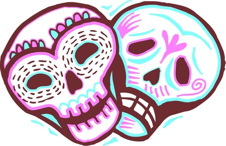 imagezoo: A colored picture of two skulls with a happy and sad expressions
