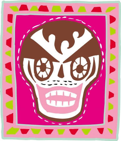 hair mask: A skull with brown hair on pink background Stock Photo