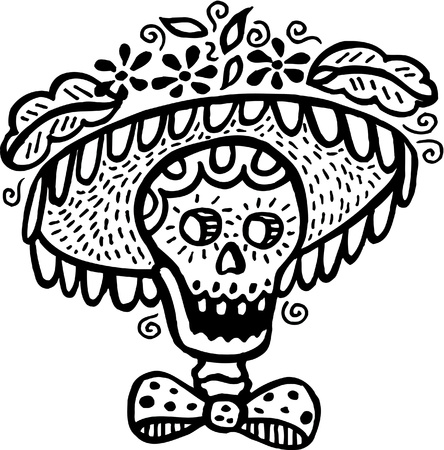dia de los muertos: A black and white picture of a skull wearing a hat