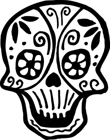 A skull with flowers drawn in black and white photo
