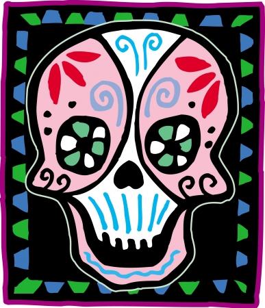 Pink skull on black bordered background