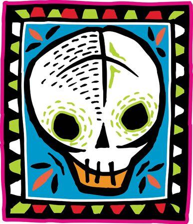 White skull on colorful bordered background photo