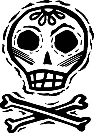 Black and white skull with crossbones photo