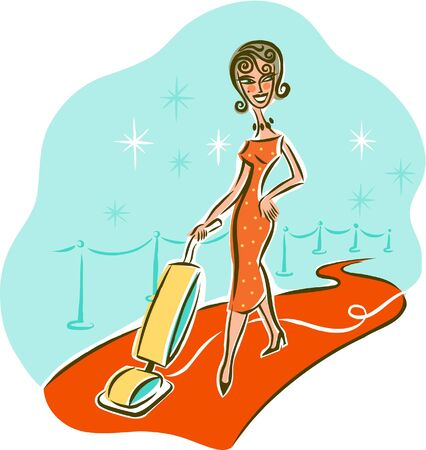Illustration of a woman vacuuming on the red carpet illustration