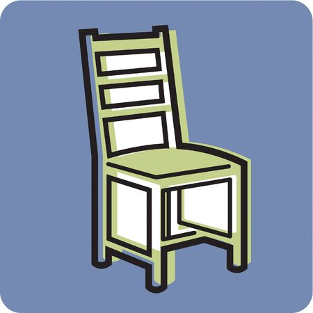chair cartoon: Illustration of a chair on a blue background Stock Photo