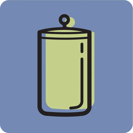 canister: Illustration of a canister on a blue background