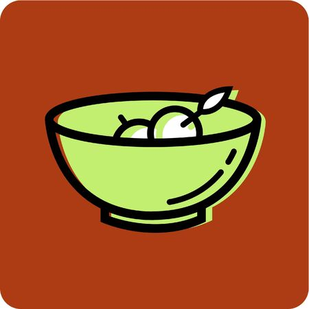 Illustration of a bowl of fruit on an orange background illustration