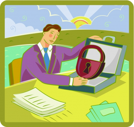 accessing: Illustration of a businessman accessing a locked briefcase