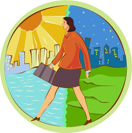 citylife: Illustration of a businesswoman in day and night