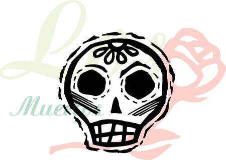 A skull with a rose in background Stock Photo - 14865060