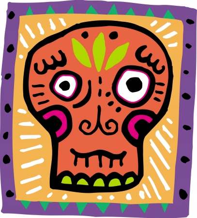 imagezoo: An illustration of an orange skull with purple border Stock Photo