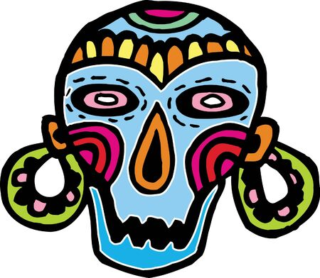 A colorful skull mask with big earrings photo