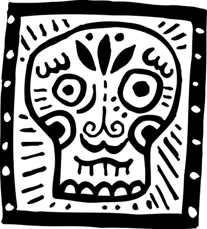A black and white picture of a skull with black border photo