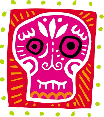 An illustration of a pink skull with border illustration