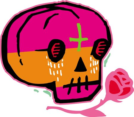 Pink and orange skull with red rose photo