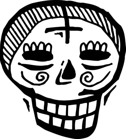 forehead: Black and white skull with cross on forehead