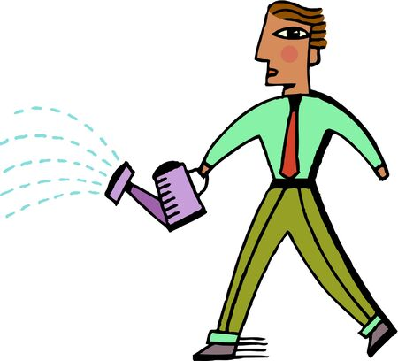 Illustration of a businessman holding a watering can Stok Fotoğraf