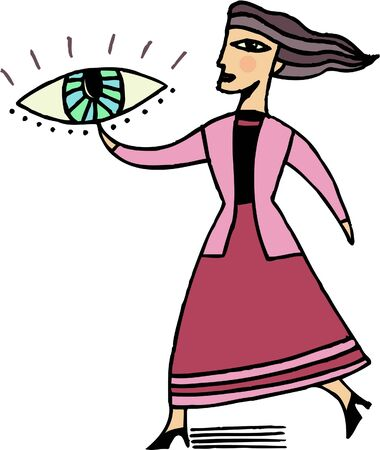 high heeled: Illustration of a businesswoman pointing to an eye